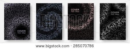 Halftone Comic Covers Set Vector Graphic Design. Banner Patterns Cool Set. Comic Style Background Wi