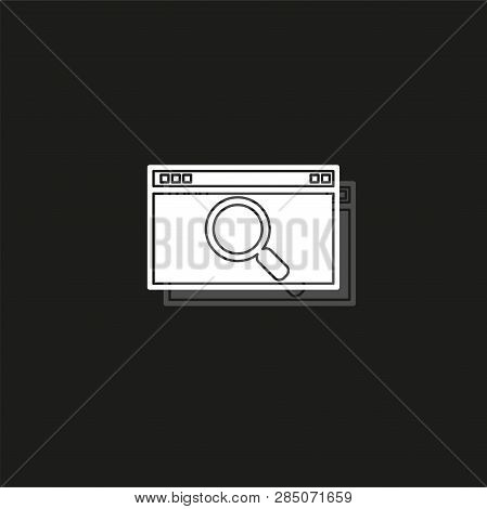Search Html Icon, Internet Search Icon, Search Engine. White Flat Pictogram On Black - Simple Icon