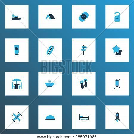 Tourism Icons Colored Set With Oxygen Cylinder, Cafe, Flip Flops And Other Drone Elements. Isolated