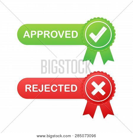 Stock Vector Green Approved Red Rejected Icons Check Mark