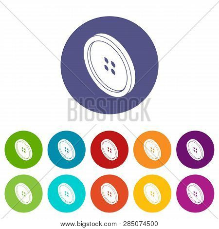 Small Shirt Button Icons Color Set Vector For Any Web Design On White Background