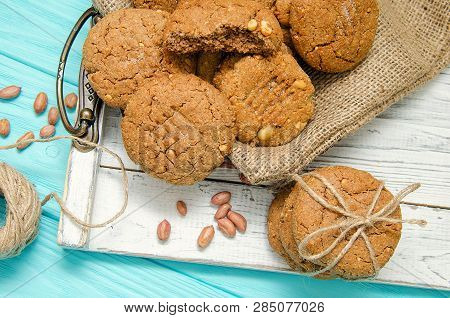 Peanut Cookies On A Wooden Tray With Peanut And Cookies. Peanut Butter. Peanut Butter Bakery. No Shu