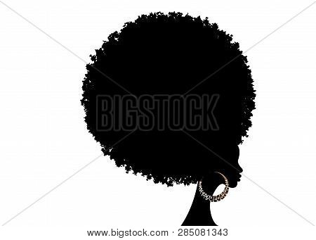 Curly Afro Hair, Portrait African Women , Dark Skin Female Face With Curly Hair Afro, Ethnic Traditi