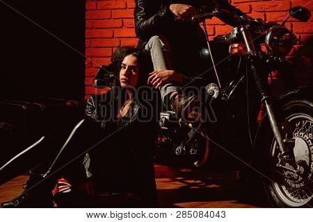 Wild And Free. Woman And Man Biker Are Wild And Free On Motorbike. Wild And Free Concept. Biker Coup