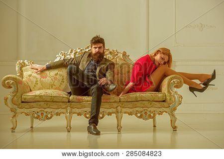 Quarrel. Family Quarrel Between Husband And Wife. Couple Has Quarrel. Quarrel Between Bearded Man An