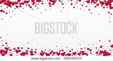 Red Heart Love Confettis. Valentine Day Vignette Splendid Background. Falling Stitched Paper Hearts