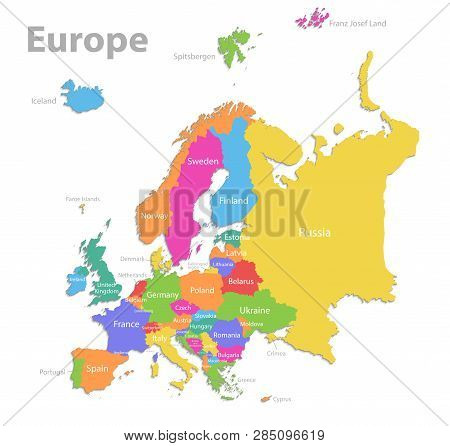 Europe Map, New Political Detailed Map, Separate Individual States, With State Names, Isolated On Wh