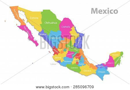 Mexico Map, New Political Detailed Map, Separate Individual States, With State Names, Isolated On Wh