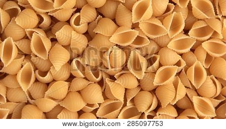 Dry Noodles Texture, Yellow Pasta Background, Small Pasta Vermicelli Or Macaroni
