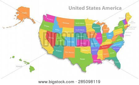 Usa Map Alaska Hawaii Vector & Photo (Free Trial) | Bigstock