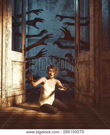 House Of A Thousand Hands,undead Hands Behind The Doors Haunting The Girl In A Haunted House,3d Rend