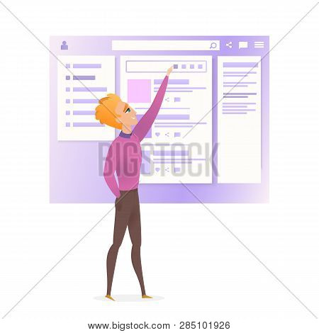 Website Interface Wireframe Improve Character. Project Design Web Ui Technology User Usability Guide