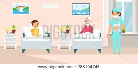 Inpatient Treatment Cartoon Vector Illustration. Health Worker, Nurse And Patient Flat Color Charact