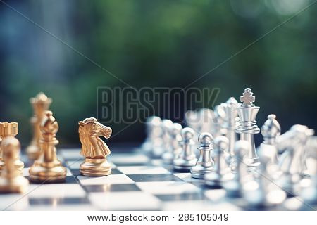Chess board game, winner winning situation, encounter serious enemy, business competitive concept, copy space poster