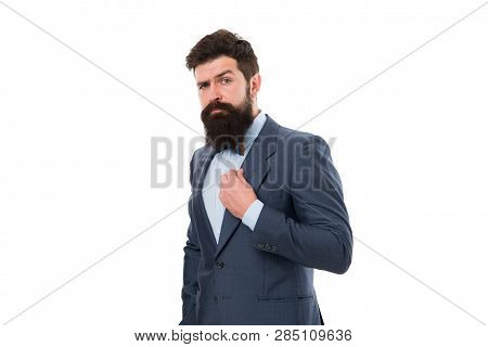 Beard Fashion And Care. Male Fashion In Business Office. Businessman In Formal Suit. Man With Beard.