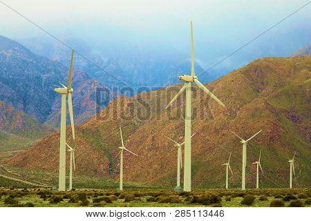 February 14, 2019 In Palm Springs, Ca:  Wind Turbines Taking Advantage Of The Wind And Creating Clea