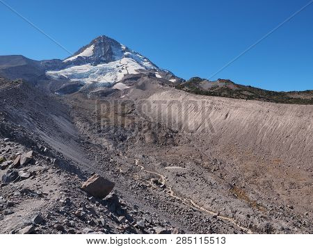 The North Face Of Mount Hood, Oregon, And Eliot Glacier In The Mount Hood Wilderness As Seen From Th
