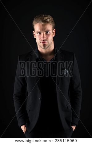 Casually Handsome. Man Handsome Well Groomed Macho On Black Background. Feeling Confident. Male Beau