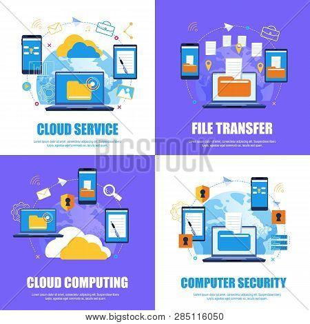Cloud Service. File Transfer.cloud Computing. Computer Security. Flat Banner Set Color Background. V