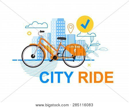 Square Flat Banner City Ride White Background. Vector Illustration Orange Electric Bicycle On Backgr