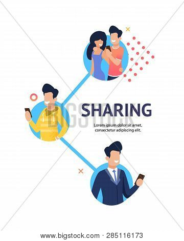 Flat Banner Group Young Happy People Sharing Relevant Information. Vector Illustration On White Back