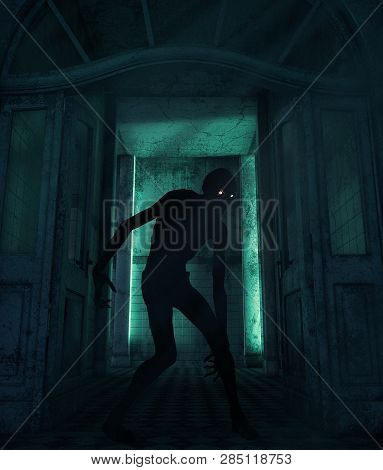 Creepy Monster In A Haunted House,3d Rendering