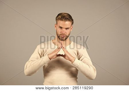 Bearded Man With Hand Steeple Show Confidence. Man With Beard On Unshaven Face And Blond Hair. Fashi