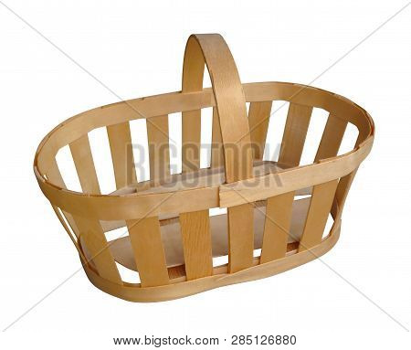Empty Wooden Basket Isolated On White. Clipping Path Included.