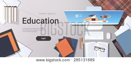 University Student Workplace E-learning Online Education Concept Top Angle View Desktop With Books A