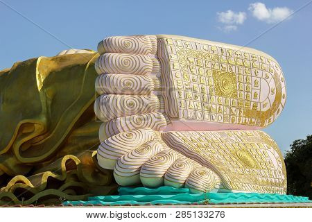 Huge Feet Of The Naung Daw Gyi May Tha Lyaung Recling Buddha, Bago, Myanmar
