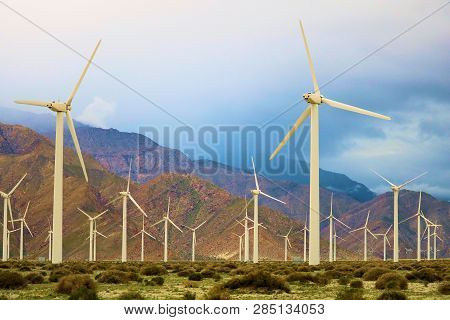 February 14, 2019 In Palm Springs, Ca:  Wind Turbines Creating Alternative Clean Green Energy Taken