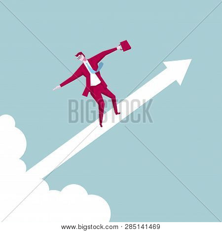 Businessman Stands On The Shoulders, In Mid Air.