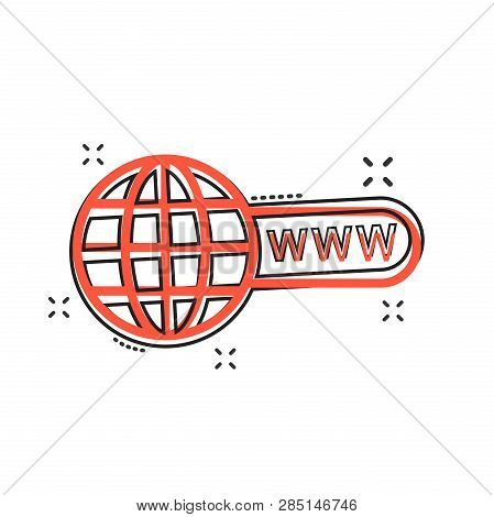 Vector Cartoon Go To Web Icon In Comic Style. Globe World Sign Illustration Pictogram. Www Url Busin