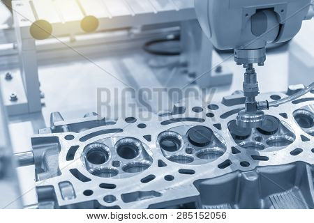 The Cnc Bore Machine Boring The Intake And Exhaust Valve Port At Cylinder Head .the Engine Part Over