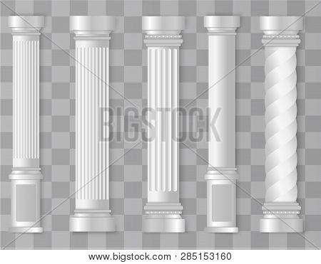 Antique White Columns. Roman Column, Greek Pillar. Ancient Architecture, Greece. Antique Prehistoric