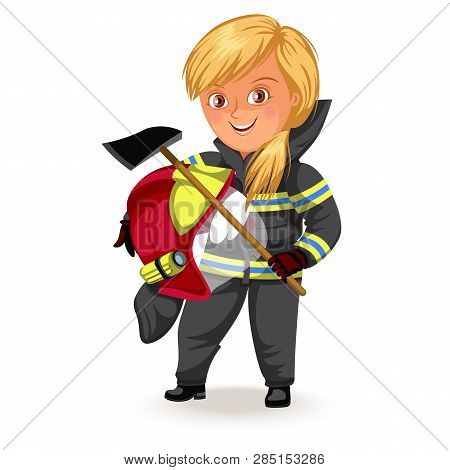 Not female professions, Strong woman miner or road worker in uniform with helmet ax his arms , hard working girl, feminists worker vector illustration poster