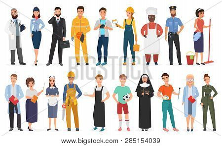 Collection Of Men And Women People Workers Of Various Different Occupations Or Profession Wearing Pr