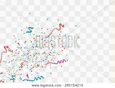 Colorful Bright Confetti Isolated On Transparent Background. Festive Vector Illustration. Colorful C