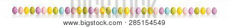 Beautiful Bright Colored Eggs For The Easter Holiday Isolated On White Background