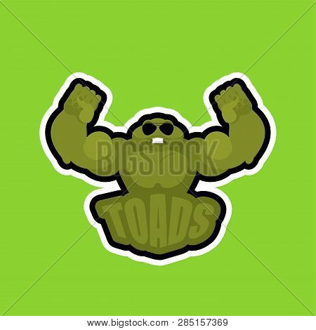Toads sport logo. Frogs Sports team club emblem. Animal mascot gaming sign. Strong anuran beast symbol poster