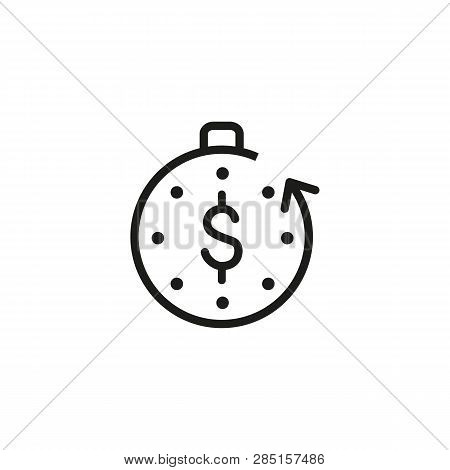 Unearned Money Line Icon. Timer, Stopwatch, Dollar, Arrow, Cycle. Passive Income Concept. Can Be Use