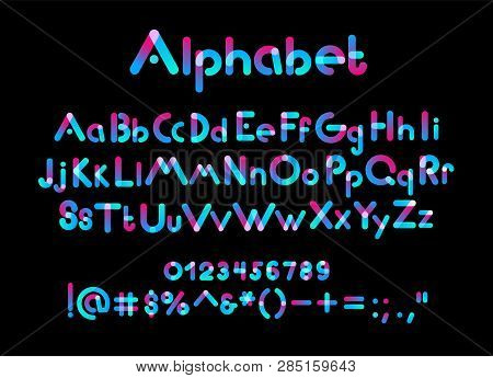Color Alphabet Font. Color Uppercase, Lowercase Letters And Numbers On Black Background, Vector Illu