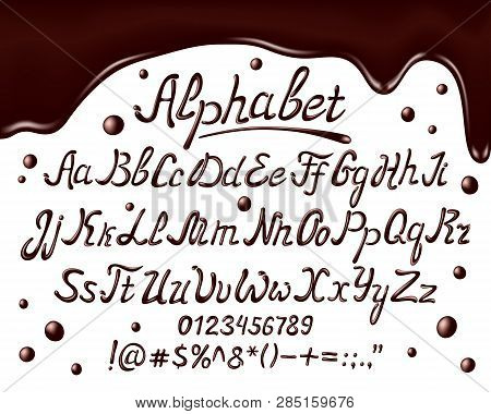 Chocolate Alphabet Font. Realisctic Chocolate Uppercase, Lowercase Letters And Numbers On White Back