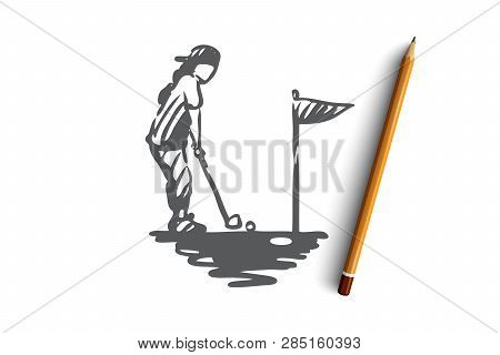 Girl, Golf, Racket, Golfing, Sport Concept. Hand Drawn Little Girl Playing Golf Concept Sketch. Isol