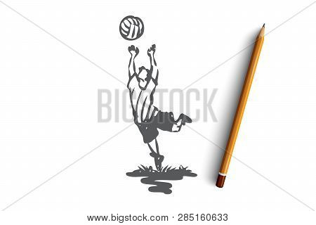 Boy, Volleyball, Sport, Play, Active Concept. Hand Drawn Little Boy Playing Volleyball Concept Sketc