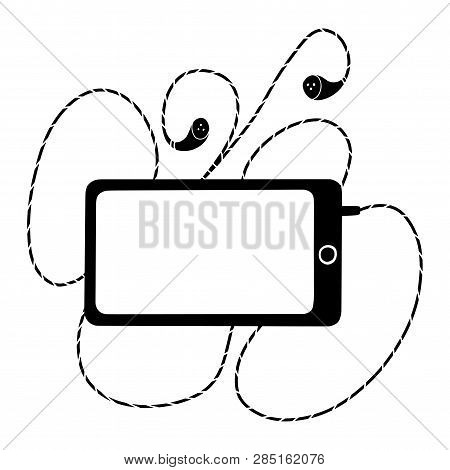 A Phone With Earpieces. Black And White Illustration For Coloring Book. Vector Outline Illustration