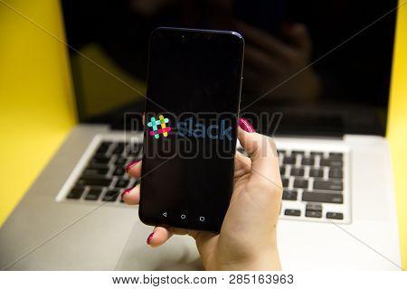 Tula, Russia - January 29, 2019: Slack Logo On Smartphone