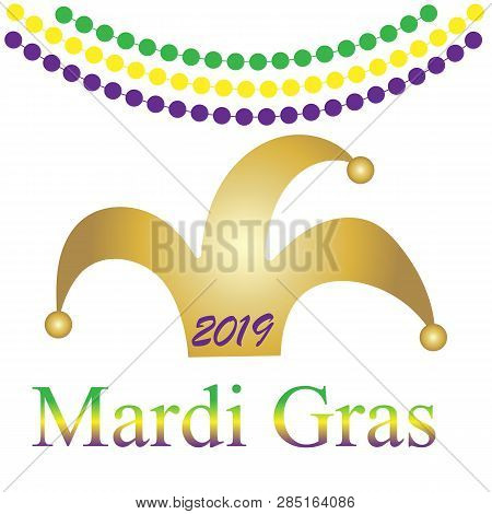 Mardi Gras. Festive Decoration. . Party Event Decoration. Lettering Typography. Holiday Card. Vector