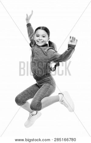Deal with long hair while exercising. Girl cute kid with long ponytails sportive costume jump isolated on white. Working out with long hair. Sport for girls. Guidance on working out with long hair. poster