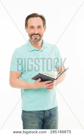 Confidence And Intelligence. Never Too Late Study. Man Mature Bearded Hold Book Isolated White Backg